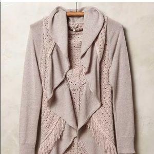 Anthropologie $128 fringed cardigan sweater boho S